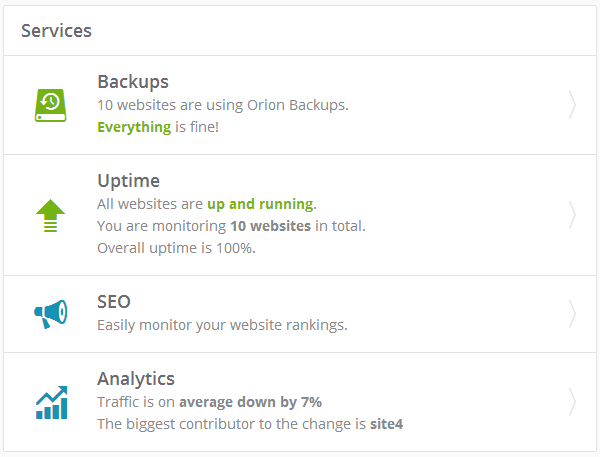 ManageWP Orion - Overview - Services