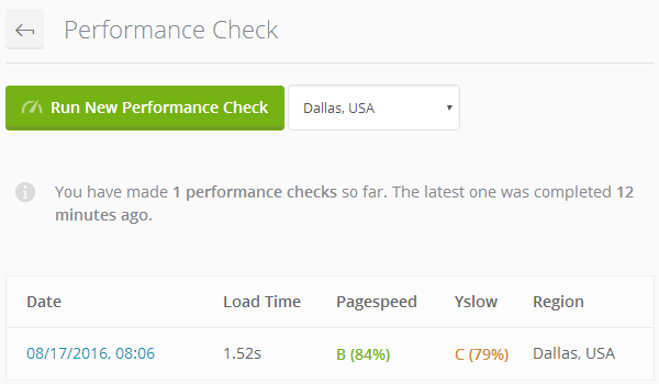 ManageWP Orion - Performance Check Tests