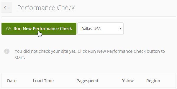 ManageWP Orion - Run New Performance Check