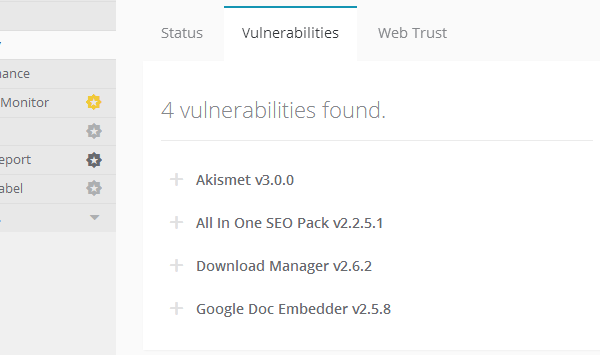 ManageWP Orion - Security Check - Vulnerabilities