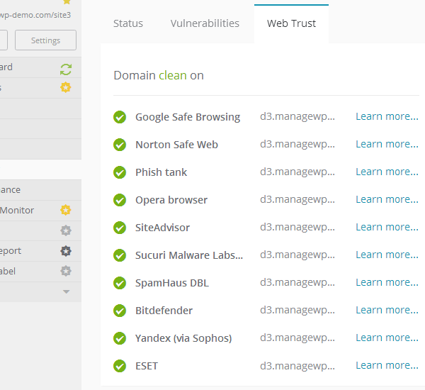 ManageWP Orion - Security Check - Web Trust