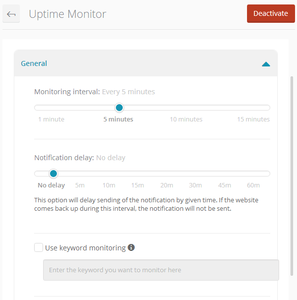 ManageWP Orion - Uptime Monitor - Settings