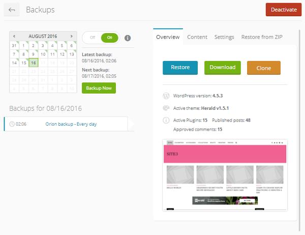 ManageWP Orion - Website Dashboard - Backups