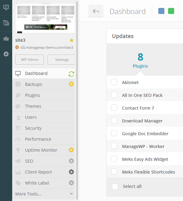 ManageWP Orion - Website Dashboard - Tools