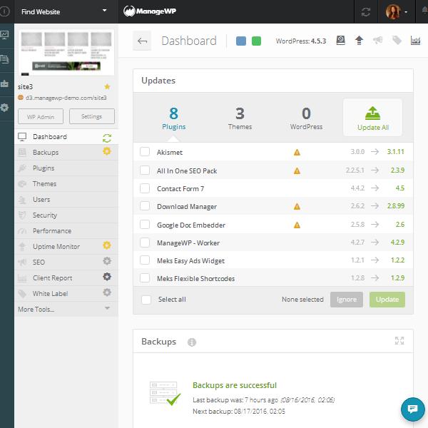 ManageWP Orion - Website Dashboard