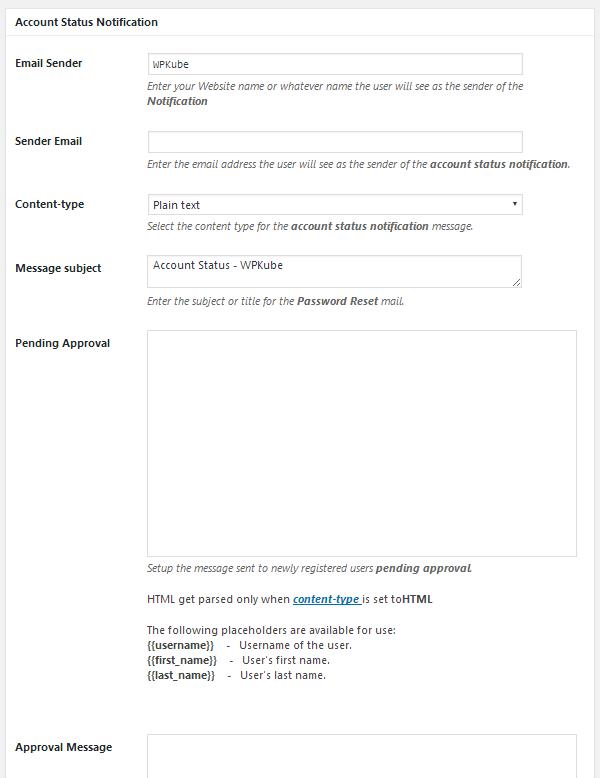 ProfilePress - Account Status Notification Settings