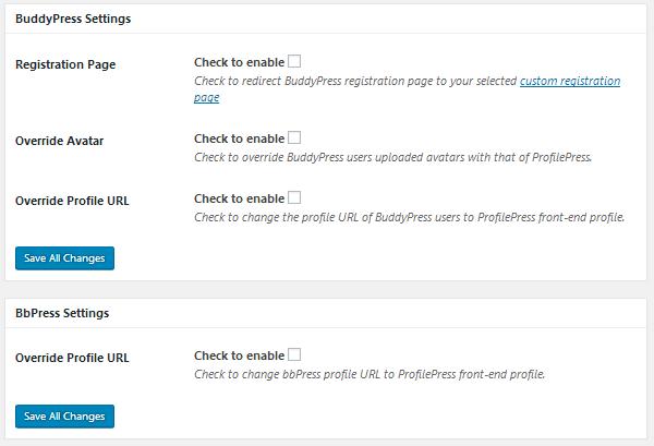 ProfilePress - BuddyPress & bbPress Settings