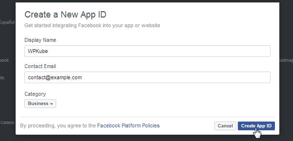 ProfilePress - Facebook - Create App ID