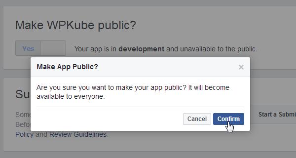ProfilePress - Facebook - Make App Public
