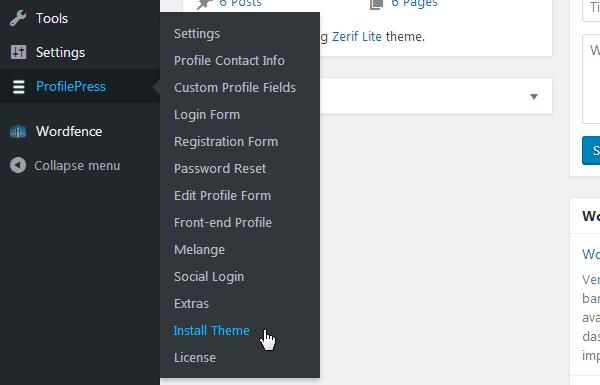 ProfilePress - Install Theme