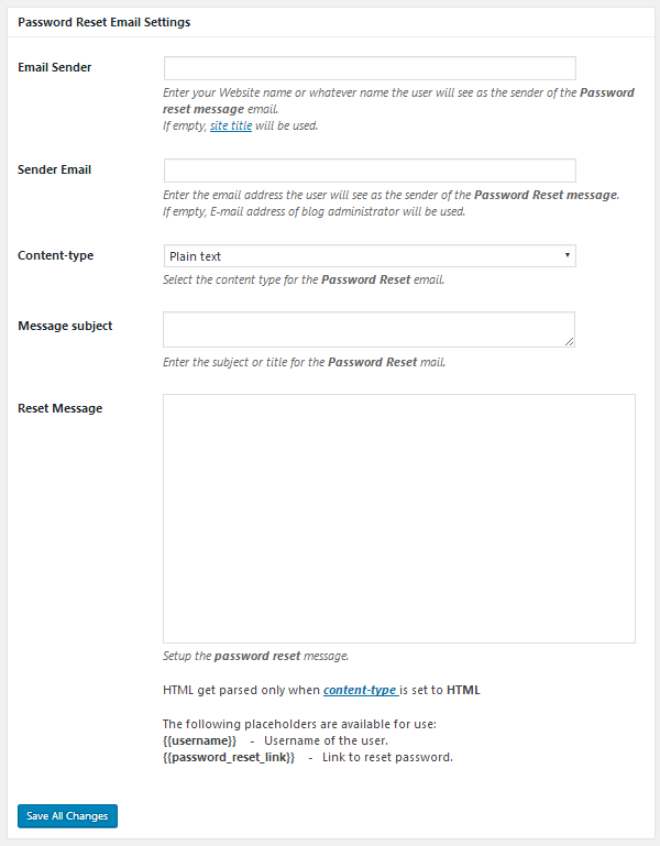 ProfilePress - Password Reset Email Settings