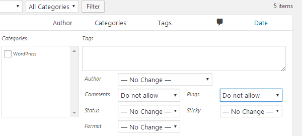 Bulk Actions - Edit - Disallow Comments & Pings
