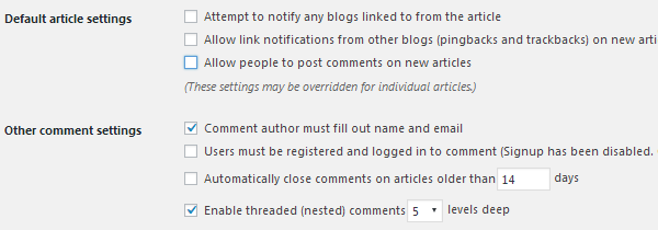 Disallow Links & Comments on New Articles