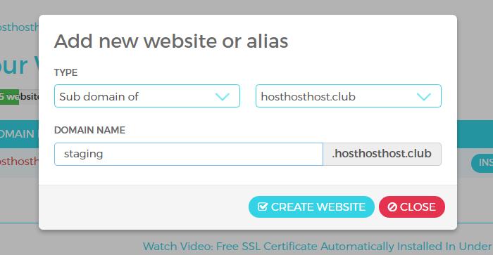 Create additional WordPress websites
