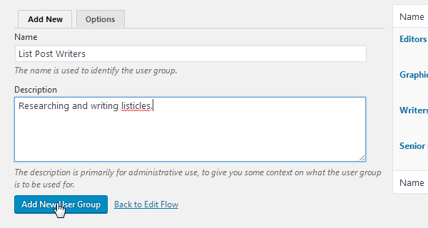 Add New User Group