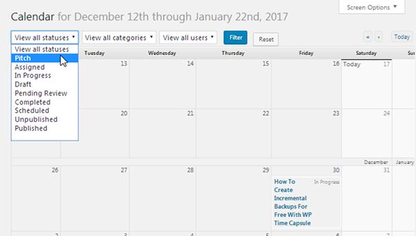 Calendar Filters