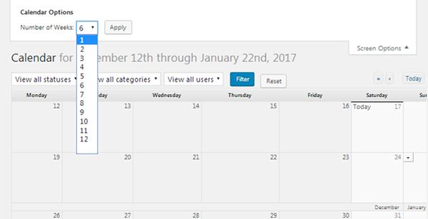 Edit Flow - Calendar Screen Options