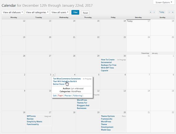 Editorial Calendar Details
