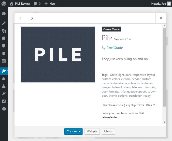 PILE Review Install Theme