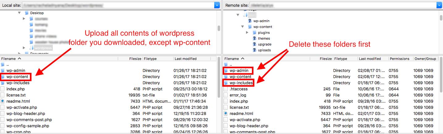 Copying WordPress files via FTP
