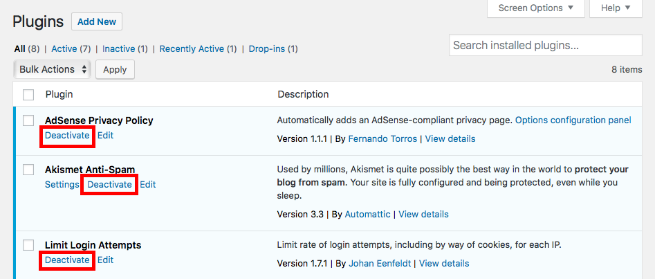 deactivate plugins screenshot