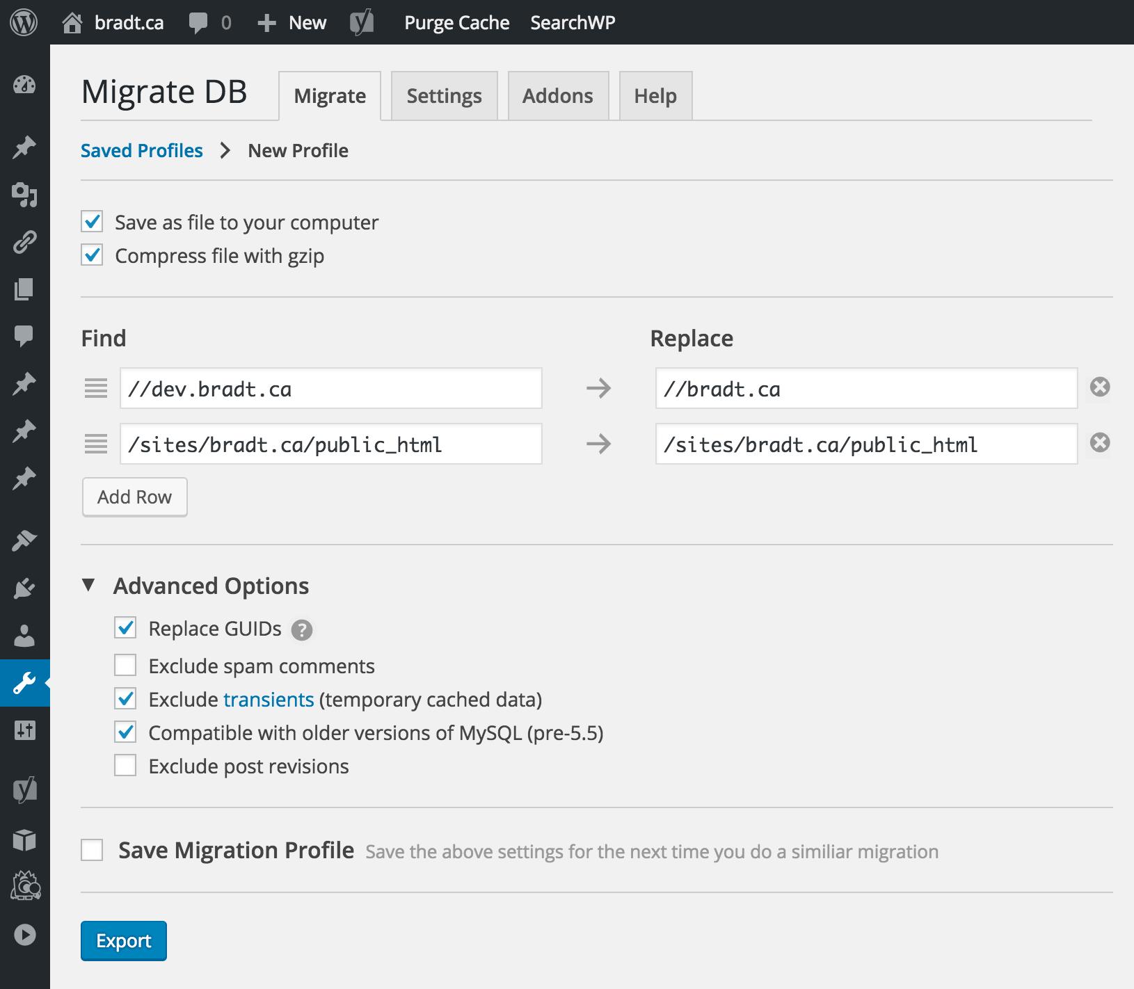 Migrate DB screenshot