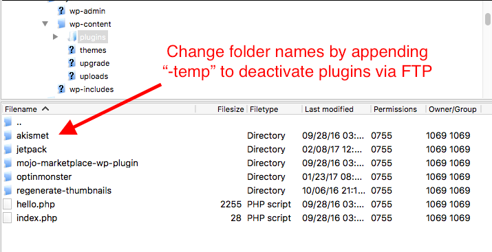 Plugin folder ftp screenshot
