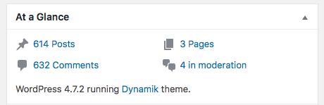 WordPress version screenshot