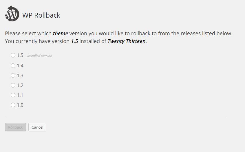 WP Rollback plugin screenshot