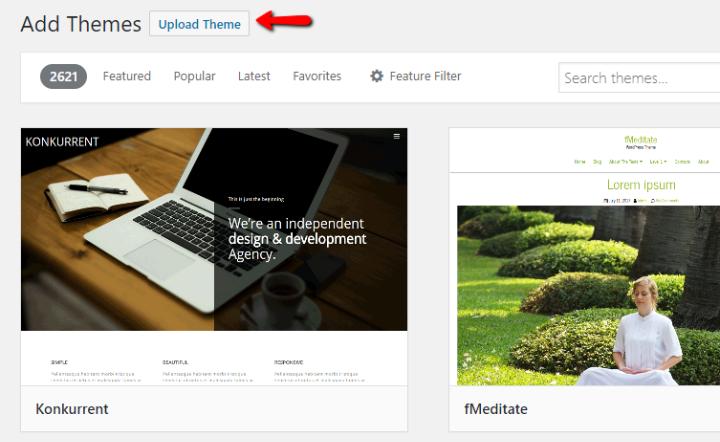 how to upload wordpress theme