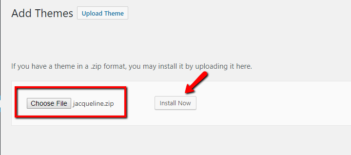 how to upload zip of theme