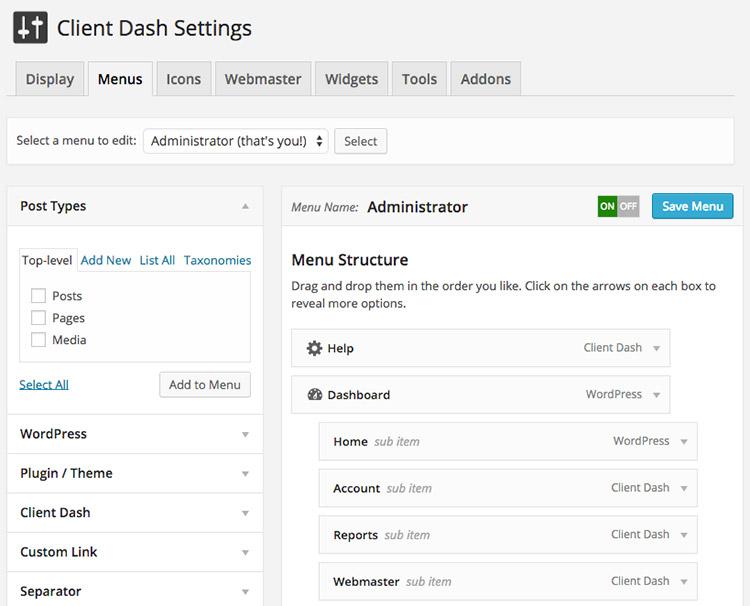 client dash wp plugin