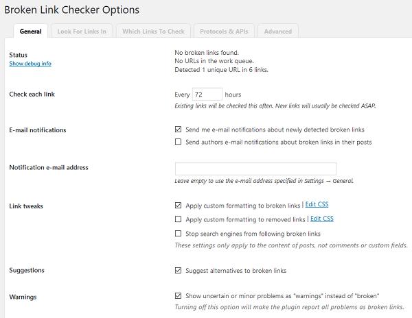 Broken Link Checker WordPress Plugin - General Settings