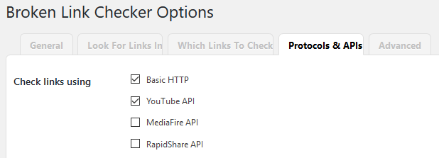 Broken Link Checker WordPress Plugin - Protocols and APIs