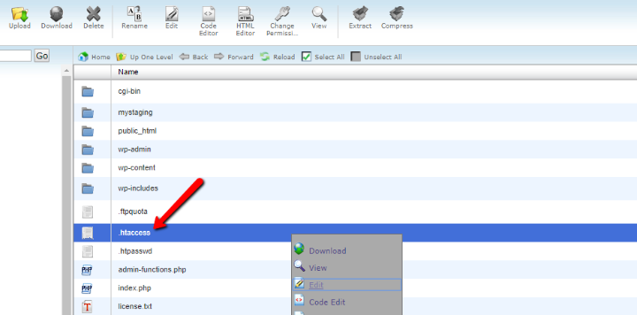 where to find .htaccess file