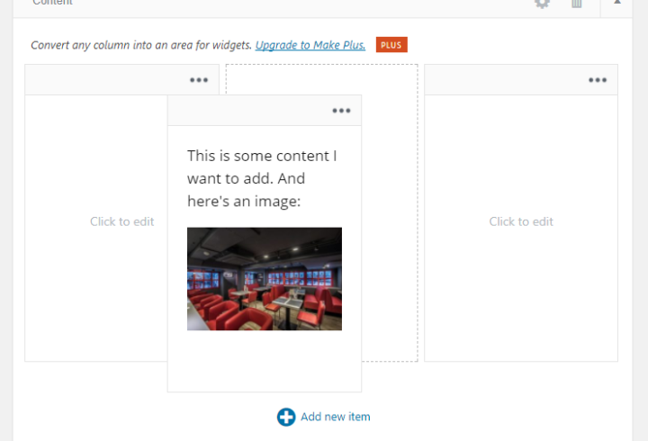 rearranging content with make builder