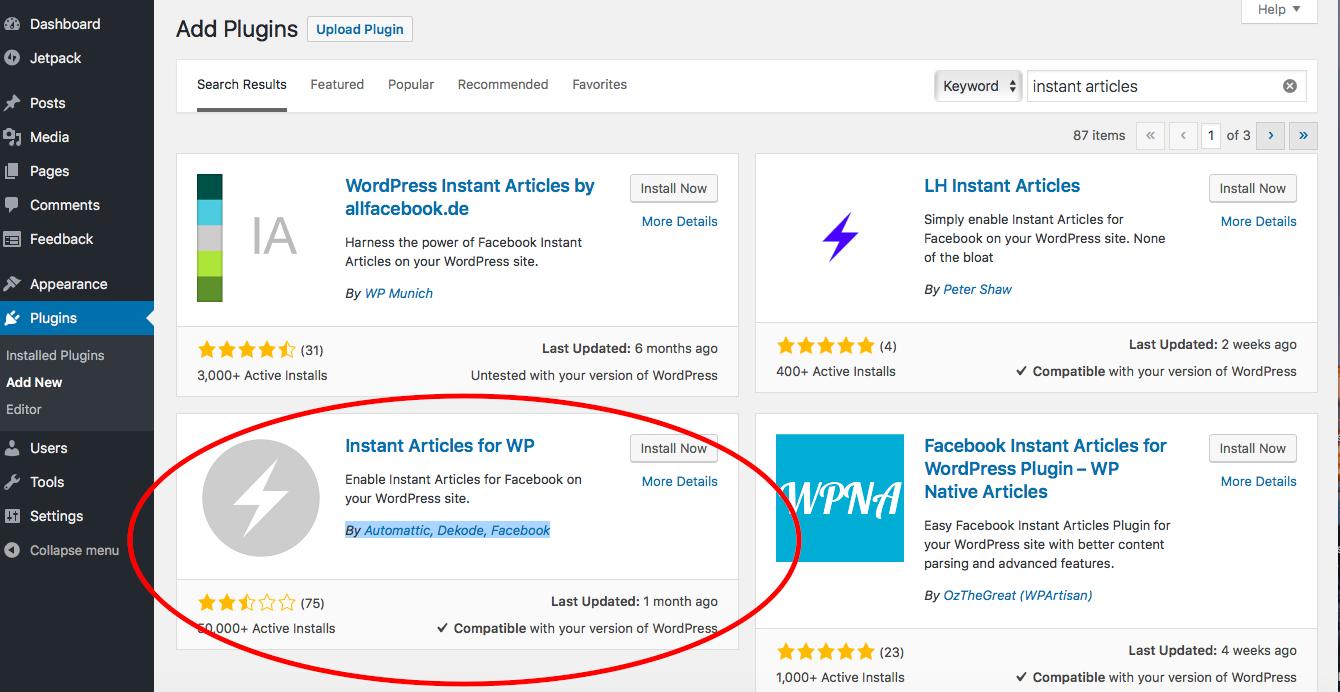 facebook instant articles plugin