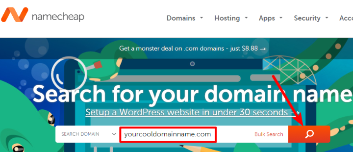 how to purchase a domain name at namecheap