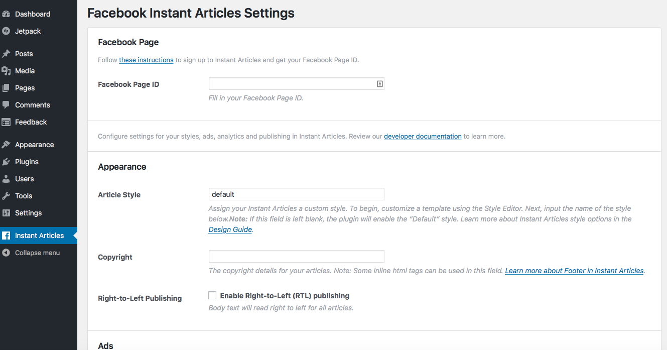 instant articles settings