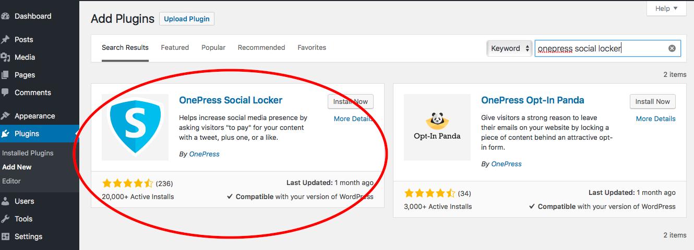 install onepress social locker plugin