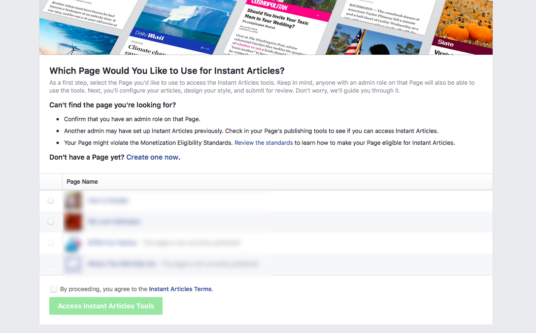 instant articles - choose facebook page