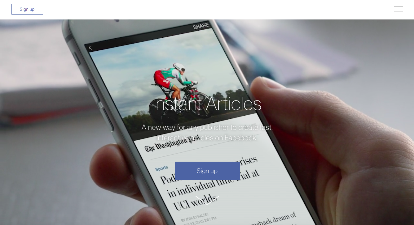 instant articles signup