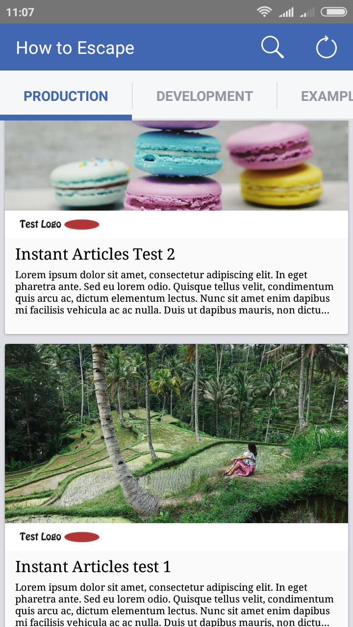 facebook app instant articles list