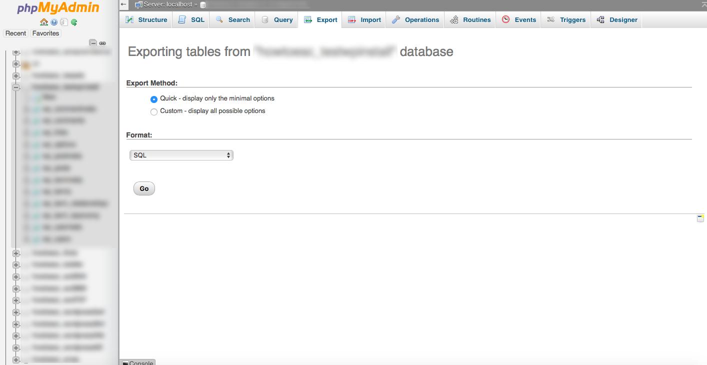 phpmyadmin database backup