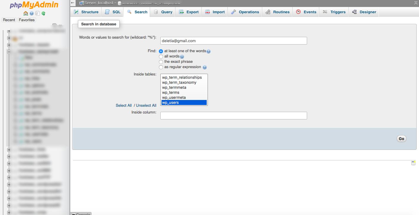 phpmyadmin database search
