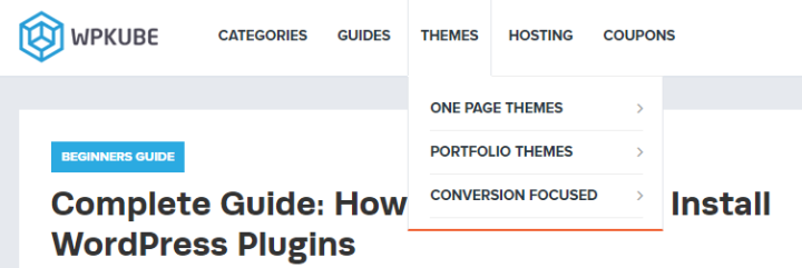 example of a wordpress navigation menu