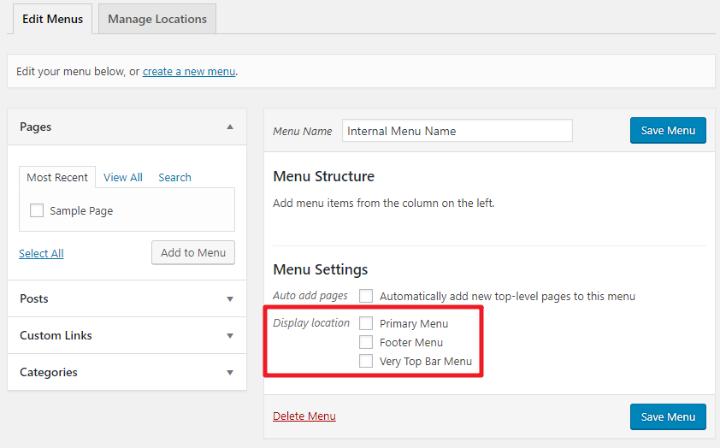 choose wordpress menu location