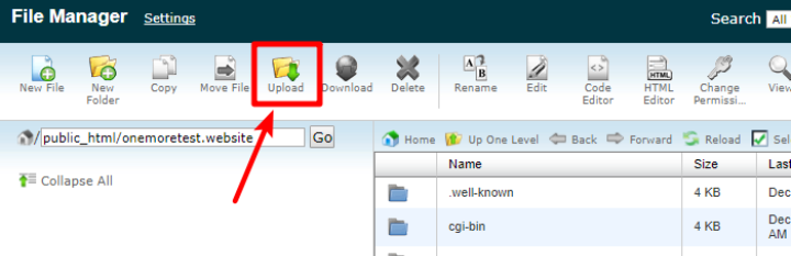 how to upload files via cpanel file manager