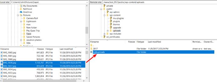 how to bulk upload files to wordpress via ftp