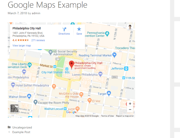 google maps embed on site